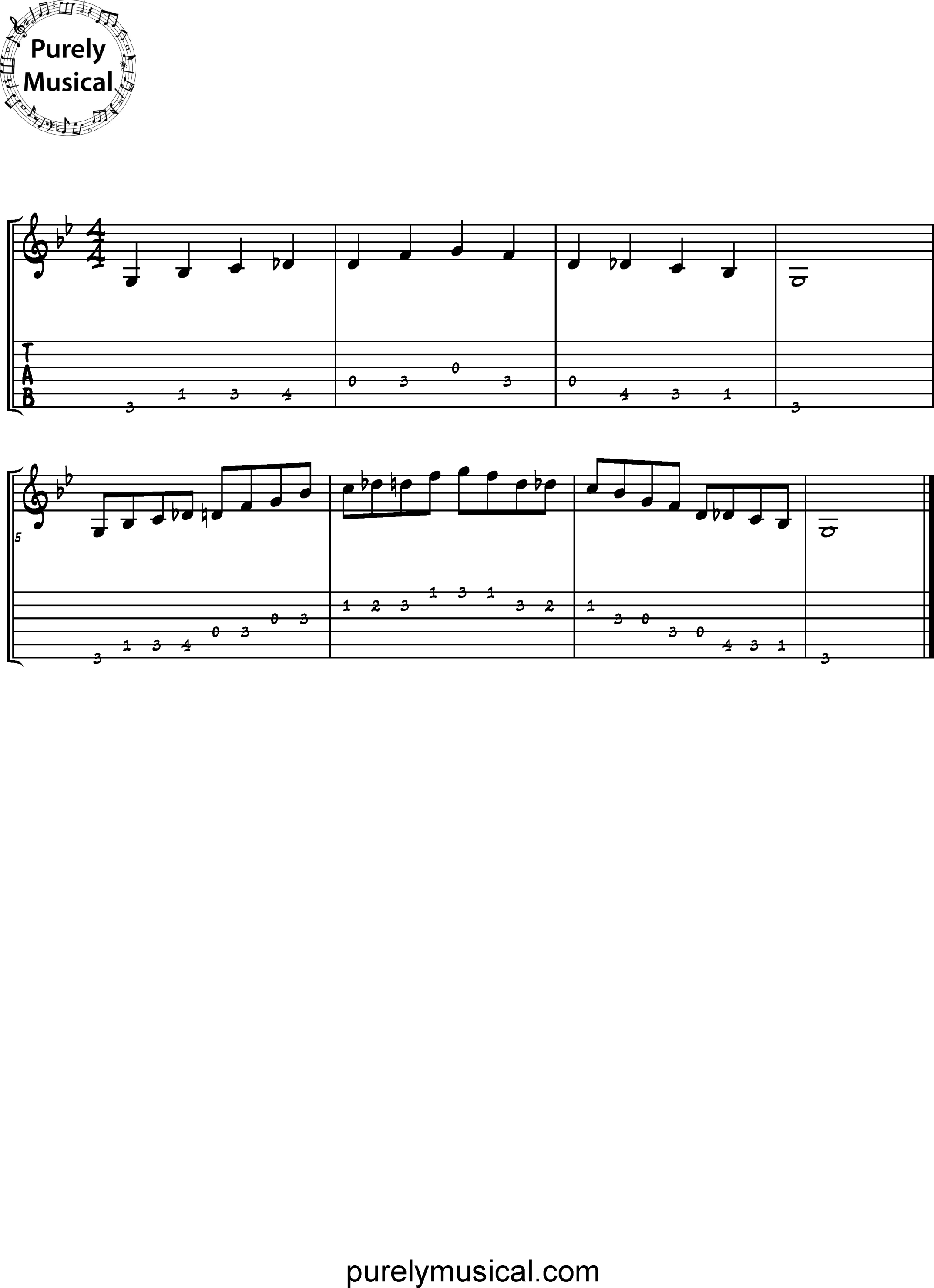 Beginner  Scale G Blues