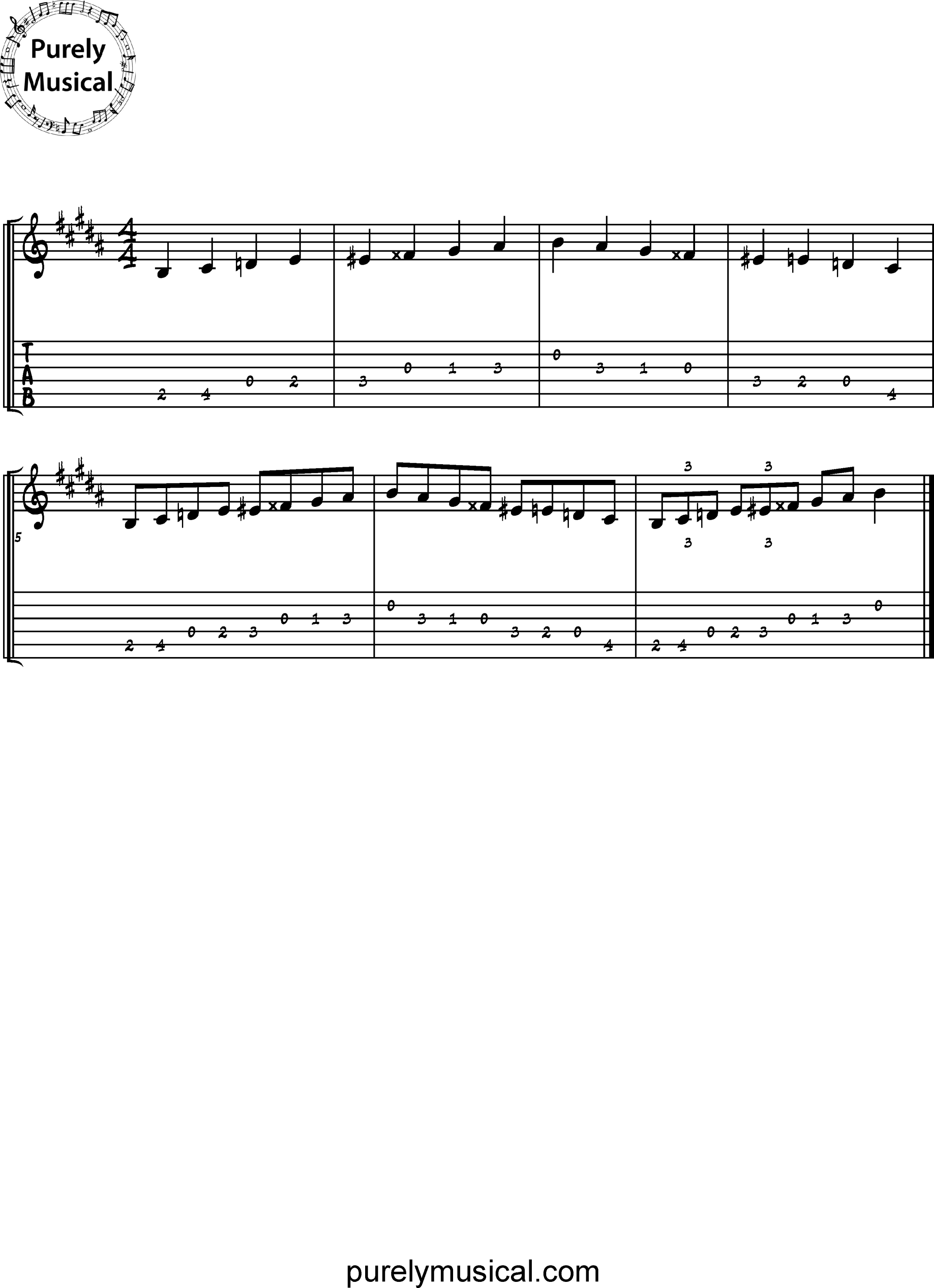 Beginner  Scale B Diminished