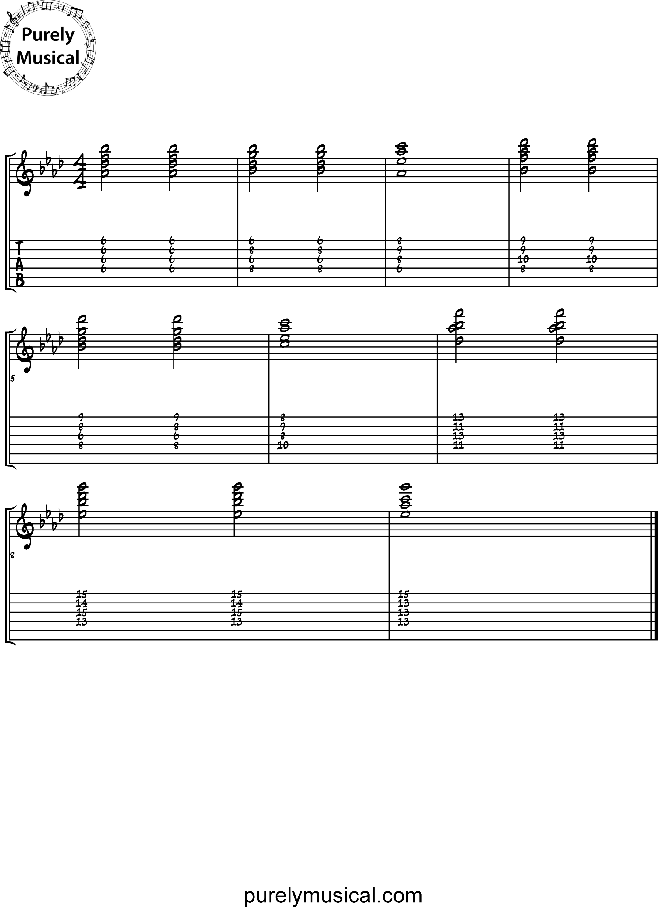 Intermediate  Chord Sequence Ab Major Ii-Vi-I