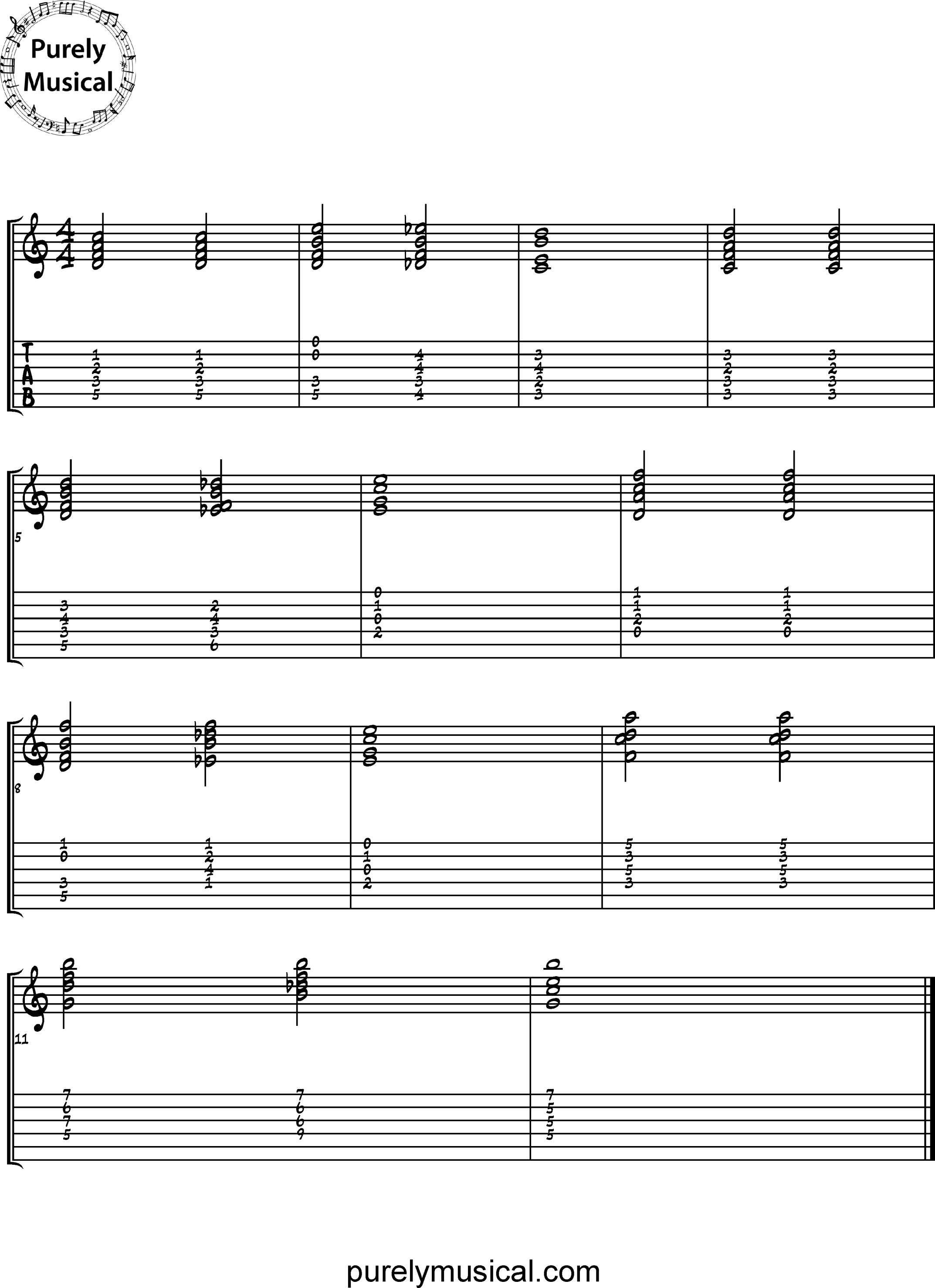 Advanced  Chord Sequence C Major Tritone Substitution